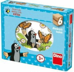 Dino Molletje houten blokkenpuzzel - 6 puzzels, 6 blokken