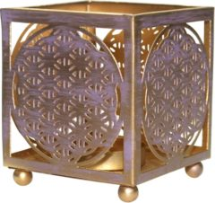 Goudkleurige Green Tree Candle Company Theelichthouder Flower of Life 8x8cm