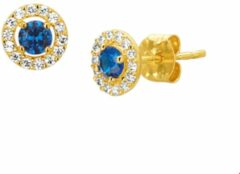 Blauwe The Jewelry Collection Oorknoppen Syn. Saffier En Zirkonia - Geelgoud
