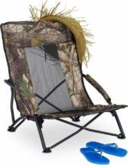 Groene Relaxdays Strandstoel opvouwbaar - campingstoel - tuinstoel - vissersstoel - 100 kg