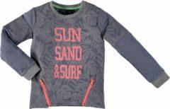 Grijze B.Nosy B. Nosy Jongens Sweater - jeans blue melee grey - Maat 134/140