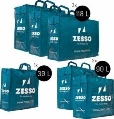 Blauwe Zesso Big Shopper Mix Zesso Bag 1x M, 2x L, 3x XL - Voordeelpakket Set van 6