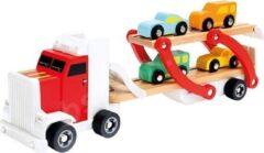 Bino mertens Auto transporter met 4 auto's rood/grijze cabine; 84095