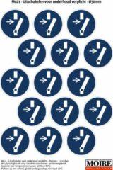 Blauwe Moire BV Pictogram sticker 75 stuks M021 - Uitschakelen voor onderhoud verplicht - 50 x 50mm - 15 stickers op 1 vel
