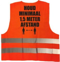 Bellatio Decorations Houd 1,5 meter afstand pictogram vest / hesje - oranje met reflecterende strepen - volwassenen - veiligheidsvest werkkleding - RIVM regels/richtlijnen - flatten the curve / stay safe