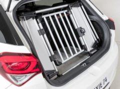 Zilveren Trixie kofferbak hek aluminium / kunststof grijs / zwart 94-114x69 cm