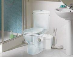 Sanibroyeur Sanipro fecalienvermaler Sanipro Silence voor WC, wastafel of fontein bidet en of douche 413x180x263mm inlaatzijde 1xDN100+3xDN40 wit