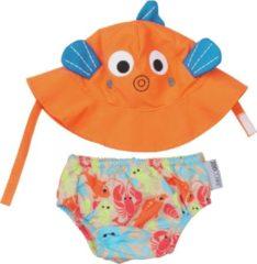 Oranje Zoocchini Sushi the tropical fish zwemluier + zonnehoedje maat S