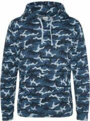 Blauwe AWDis Hoods Camo hoodie, Kleur Blue Camo, Maat XS