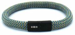 MR. JACOB Philippe geelblauwe touw armband met kliksluiting