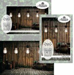 Anna's Collection Feestverlichting lichtsnoer met uitbreidingsset warm witte lampbolletjes totaal 10 m - Binnen/buiten verlichting priksnoer - warmwit LED lampjes