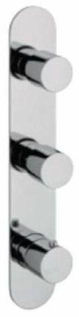 Afbeelding van Douche Concurrent Douchekraan Hotbath Buddy Inbouw Thermostatisch Rond Verticaal Geborsteld Nikkel 3 Greeps