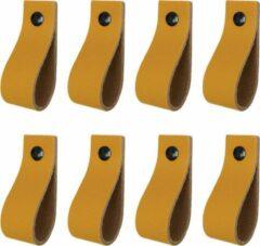 Handles and more Leren handgrepen / Lus - 8 stuks - OKERGEEL - maat XS (12,6 x 2,5 cm) - incl. 3 kleuren schroefjes