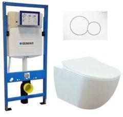 Douche Concurrent Geberit UP 320 Toiletset - Inbouw WC Hangtoilet Wandcloset - Creavit Mat Wit Rimfree Geberit Sigma-01 Wit