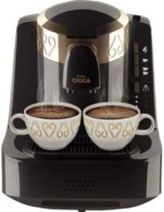 Zilveren Arzum OKKA Turkish Coffee Machine| OK001BLACK| Black & Gold |Turks Koffizetapparat - Zwart & Goud - Full Automatic | 2 kopjes