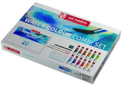 Royal Talens Water Colour set 12 kleuren 12 ml tubes aquarel aquarelverf met penselen, papier, sponsje en mengschaal transparante waterverf