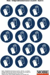 Blauwe Moire BV Pictogram sticker 75 stuks M009 - Veiligheidshandschoenen verplicht - 50 x 50mm - 15 stickers op 1 vel