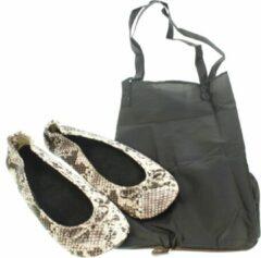 Bruine Meander elegant home accesoires Pocket Shoe Pythonprint maat 40/41 - slofje voor onderweg