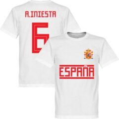 Retake Spanje Iniesta 6 Team T-Shirt - Wit - L