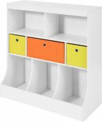 Witte Simpletrade Boekenkast - Opbergkast - Voor kinderen - 3 manden - 5 compartimenten - 92x93x40 cm