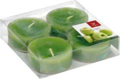 Trend Candles 4x Maxi geurtheelichtjes appel/groen 8 branduren - Geurkaarsen appelgeur - Grote waxinelichtjes