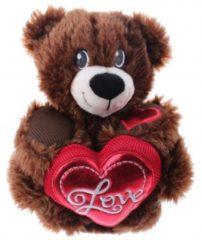 Donkerbruine Eddy Toys knuffelbeer met hart donkerbruin 33 cm