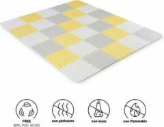 Kinderkraft Luno - Speelkleed Puzzelmat - Geel Grijs