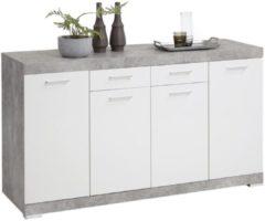 FD Furniture Dressoir Bristol 4 XL van 160 cm breed in grijs beton met wit