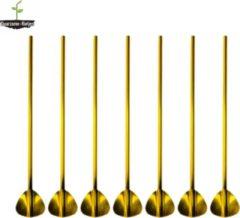 Duurzame-Rietjes RVS Lepel Rietjes Goud 6 Stuks Lepelrietjes - Lange Lepels 21,5 CM - Lepel/rietjes - Roestvrijstalen Lepel Rietjes - Thee Lepel - Dessert lepel - Latte Macchiato - Longdrink - Cocktail Lepel