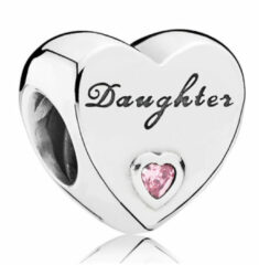 Roze Pandora Daughter heart with pink cubic zirconia 791726PCZ