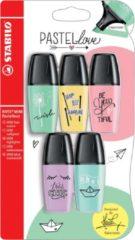 Stabilo BOSS Original mini markeerstift, blister met 5 stuks in geassorteerde pastel kleuren