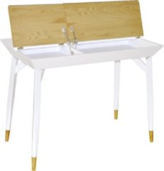 Hioshop Baris bureau met 2 laden mat wit en wild eikenhouten decor.