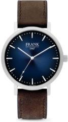 Frank 1967 Watches 7FW 0023 Stalen Horloge met Leren Band - Ø42 mm - Blauw/ Zilverkleurig
