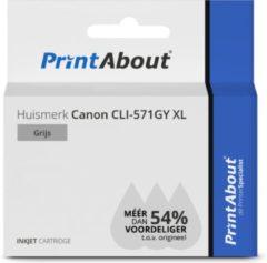 PrintAbout Huismerk Canon CLI-571GY XL Inktcartridge Grijs Hoge capaciteit