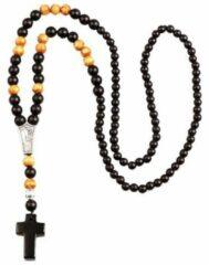 Bruine Memphis Zwarte Agaat kralen ketting met Kruis