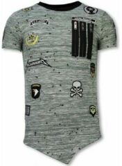 Groene T-shirt Korte Mouw Local Fanatic Longfit Asymmetric Embroidery - T-Shirt Patches - US Army