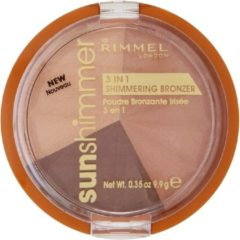 Beige Rimmel London Sun Shimmer 3 in 1 Shimmering Powder - 002 Bronze Goddess