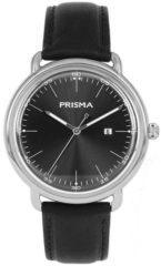 Prisma Herenhorloge P.1911 Lederen band Zilverkleurig