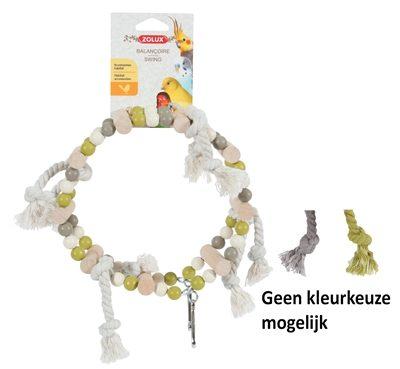 Afbeelding van Zolux Houten Wiel Met Kralen En Touw - Vogelspeelgoed - 18x6x22 cm Grijs Beige Groen