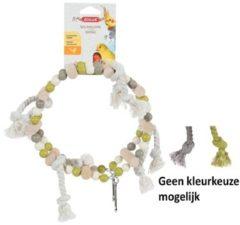Zolux Houten Wiel Met Kralen En Touw - Vogelspeelgoed - 18x6x22 cm Grijs Beige Groen