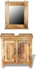 Merkloos / Sans marque Badkamer Wastafelkast (Incl 3 Luxe Handdoeken) Mango hout met Wandspiegel - Badkamerset - Meubelset badkamer