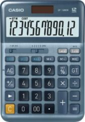 Grijze Casio DF-120EM Desk calculator Blue Display (digits): 12 solar-powered (L x W) 126 mm x 179 mm
