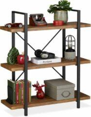 Relaxdays boekenkast industrieel 3 etages - vintage stellingkast - opbergrek woonkamer