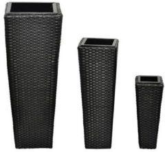 Zwarte VidaXL - Bloembak Bloembakken wicker 3 stuks (zwart)
