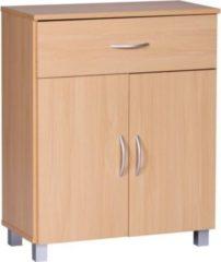 Wohnling Sideboard LENA Buche mit 1 Schublade & 2 Türen 60 x 75 x 30 cm Design Kommode aus Holz Anrichte Flur-Schrank mit Griffen