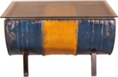 SIT Möbel Couchtisch Desgin aus recycelten Ölfässern Metall in gelb / blau bemalt mit Glasplatte Sit-Möbel Drumline