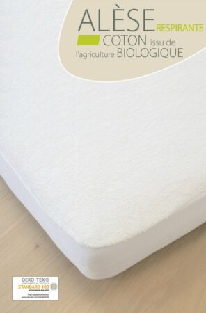 Afbeelding van Witte KADOLIS JUNIOR matrasbeschermer Biologisch Katoen 90x200 cm