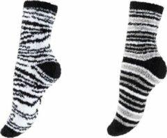 Merkloos / Sans marque 2 Paar Dames Bedsokken Huissokken Stripe Fantasy & 2 Paar Bedsokken Stripe Grey Black Multipack Unisex Maat One size - Kerstcadeau Voor Vrouwen - Thermosokken - Dikke Sokken