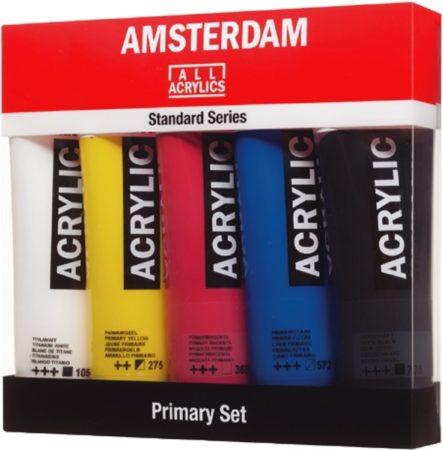 Afbeelding van Amsterdam acrylverf tube van 120 ml, etui van 5 stuks in primaire kleuren