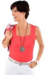 Rode Shirt-top met gepaspeleerde hals